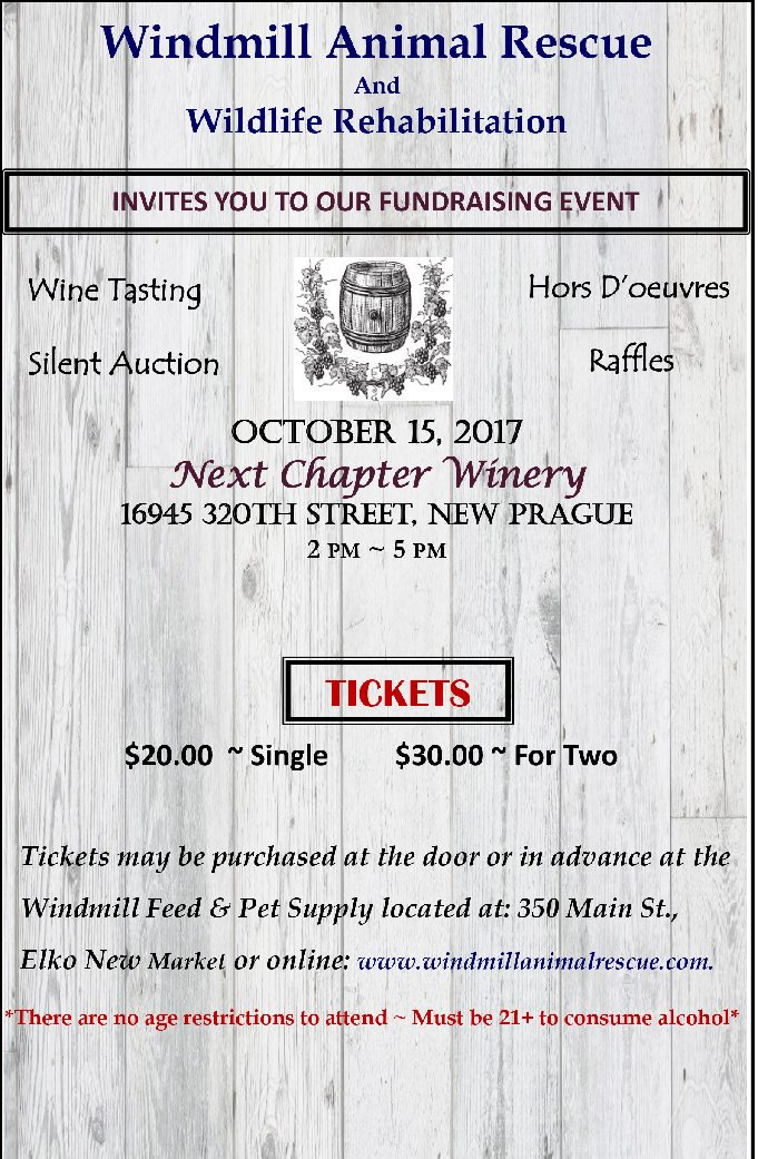 Windmill Animal Rescue Wine Tasting